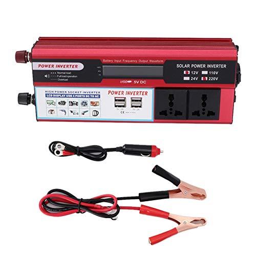 Tbest Auto Wechselrichter, 4000W Solar-Wechselrichter Solarkonverter von DC12V auf AC240V Konvertieren Sinus Spannungswandler Sie mit 4 USB-Ladegeräten in das digitale Display-Telefon