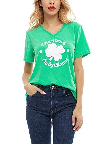 SATINIOR Women St. Patricks Shirt Printed Glitter Clover Green Shamrock T-Shirts Top, Shamrock and Letters (X-Large)
