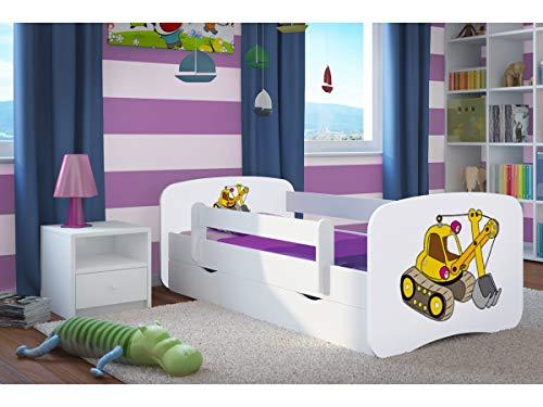 Kinderbett Jugendbett 70x140 80x160 80x180 cm Weiß mit Rausfallschutz Schublade und Lattenrost Kinderbetten für Mädchen und Junge - Bagger 160 cm