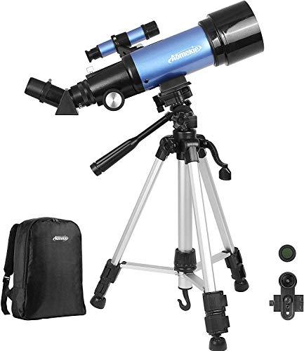 Aomekie Teleskop Astronomie 70/400 Fernrohr Teleskop Kinder Einsteiger mit 10X Smartphone Adapter Ausziehbares Stativ Tasche Barlow und Mondfilter