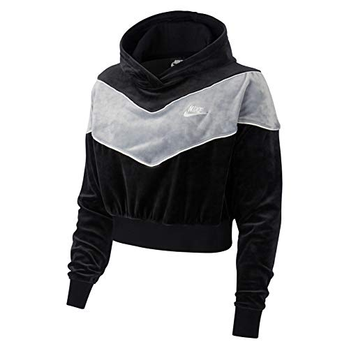Nike W NSW Hrtg Hoodie Plush Long Sleeve Top, Damen S Schwarz/kalt-grau/weiß/weiß