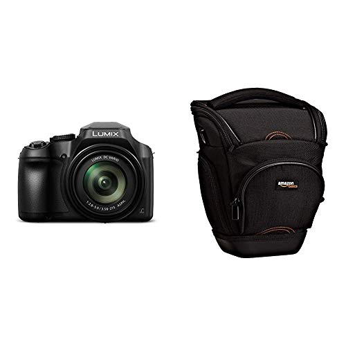 Panasonic Lumix DC-FZ82 - Cámara Bridge de 18.1 MP (Zoom de 60X, Objetivo F2.8-5.9 de 20-1200 mm, tecnología DFD, 4K, WiFi), Color Negro & AmazonBasics - Funda para cámara de fotos réflex, color negro