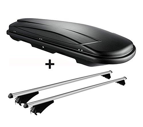 VDP Dachbox schwarz Juxt 600 großer Dachkoffer 600 Liter abschließbar + Alu-Relingträger Dachgepäckträger aufliegende Reling im Set kompatibel mit BMW 5er F11 Touring ab 13