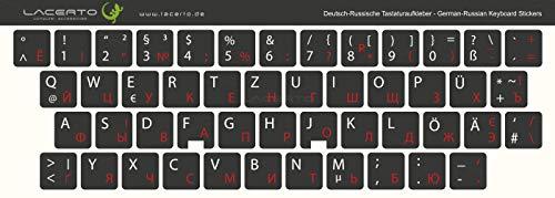 Lacerto® | 14x14mm Russisch-Deutsche Aufkleber für PC/Laptop & Notebook Tastaturen mit mattem kratzfestem Laminat | Farbe: Rot-Schwarz (Nicht transparent)