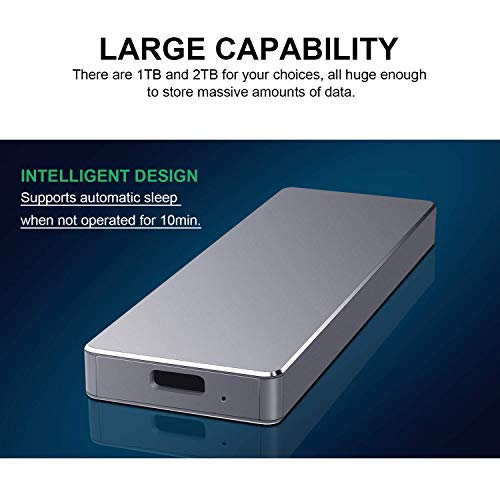 Po   rtable 1TB 2TB External Hard Drive Type C USB 3.1 Portable Hard Drive External for Mac, Laptop,PC (2TB,Black)