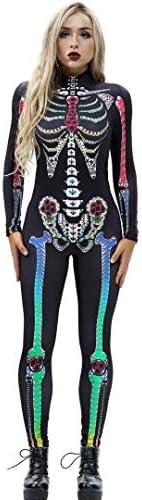 Tsyllyp Womens Halloween Skeleton 3D Costume Bone Skull Skinny Catsuit Jumpsuit product image