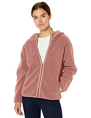 Amazon Brand - Daily Ritual Women's Teddy Bear Fleece Hooded Zip Jacket, Dusty Rose, Medium