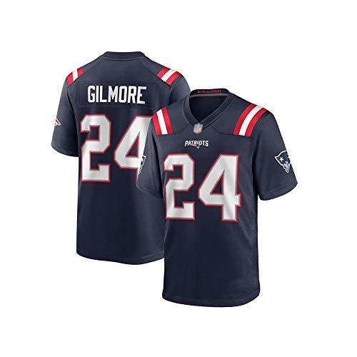 Camiseta de Rugby Stephon Gilmore # 24 Camiseta de fútbol Americano de los Patriots de Nueva Inglaterra, Sudadera Deportiva Unisex de Manga Corta Gimnasio Bordado Transpirable Limpieza repetible el m