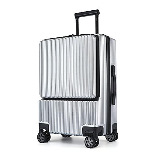 SGCDKSP Traveler - Maleta ligera de viaje de 4 ruedas de ABS + cabina de maleta dura de PC, maleta de embarque para computadora de negocios, tipo maleta expandible, color plateado, 44 x 26 x 6