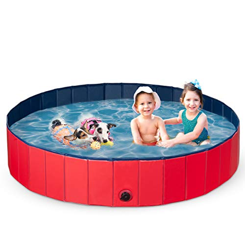 Pantula Plastic Paddling Pool for extra large Dogs& Pet - Foldable &Portable Dog Pools -PVC Dog Swimming Pool For Gardens- Puppy Kids Dog Bath Tub Pool(L 160 * 30)