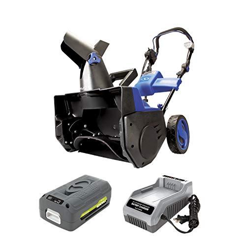 "Snow Joe iON18SB-HYB 40V 4.0 Ah Hybrid Cordless or Electric Cordless Snow Blower, 18"""