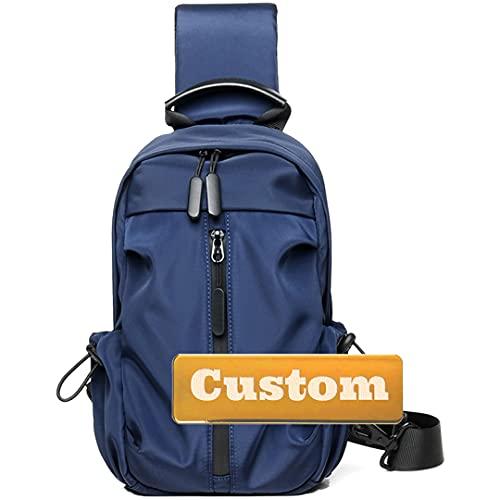 Nombre Personalizado Crossbody Sling Men Bag Hombro Ligero Ligero Pequeño Sling Viaje Bolso Hombro para Hombres (Color : Blue, Size : One Size)
