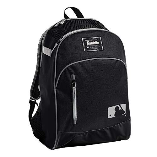 Franklin Sports MLB Batpack Bag - Youth Baseball, Softball and Teeball Bag - Equipment Bag For Sports - Bag Holds Bats (2) and Includes Fence Hook - Black/Grey