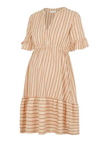 MAMALICIOUS Mlmariana 2/4 Woven Short Dress Vestido, AOP: Rayas AOP Y Lurex Sésamo, L para Mujer