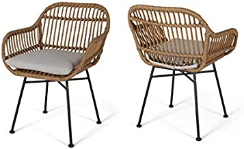 Christopher Knight Home Rodney Indoor Woven Faux Rattan Chairs with Cushions (Set of 2), Light Brown and Beige Finish