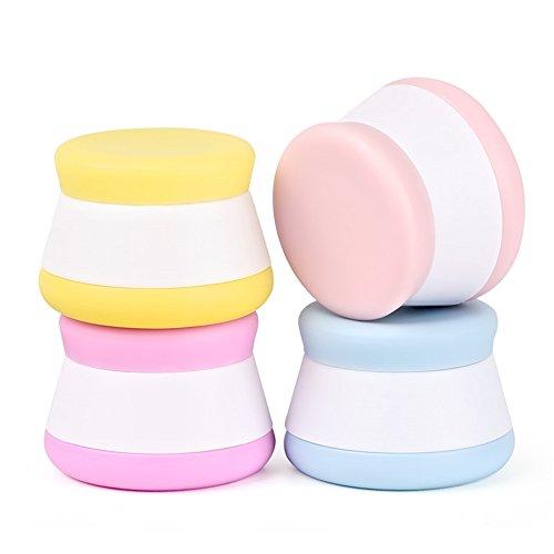 Puve Vie Pack de 4 Silicone Crème Bouteille Pot Portable Conteneur Joint Haut pour Pilule crème Shampooing, Revitalisant, Lotion, Crème solaire, Articles de Toilette - 20ml
