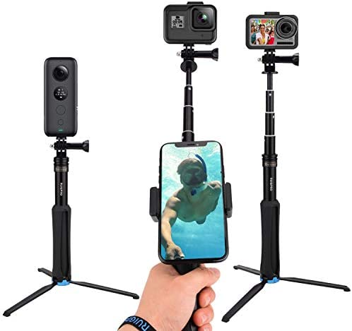 CamGek Extendable Pole Selfie Stick with Aluminum Tripod for GoPro Handheld Telescoping Monopod product image