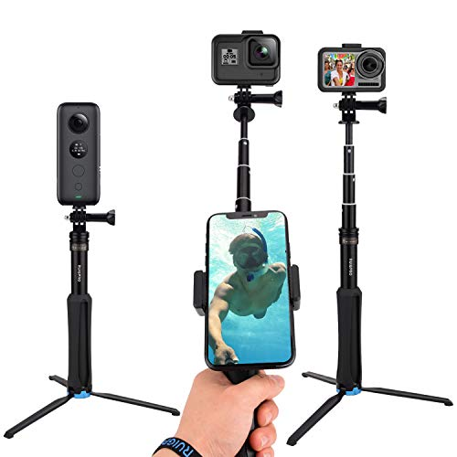 CamGek Extendable Pole/Selfie Stick with Aluminum Tripod for GoPro, Handheld Telescoping Monopod Waterproof Hand Grip for GoPro Max/Hero 9/8/7/6/5/4 Black Osmo Action XiaoYi and Others