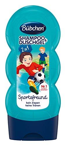 Bübchen Kids Shampoo e gel doccia Sportsfreund, shampoo e gel doccia per bambini, pH neutro per la pelle dei bambini, con profumo fresco, quantità: 4 x 230 ml