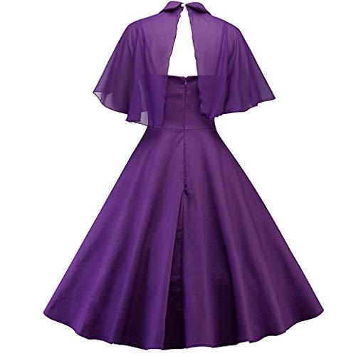 COZOCO Color sólido Elegante de Las Reglas de Las Mujeres Conservador Manto mantón Vestido de Dos Piezas Correa de muñeca Collar(Púrpura,2XL