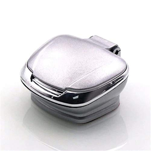 Brilliant Classy and Luxurious Design Multifunction Cool Car Accessories Car Auto Cigarette Lighter Ashtray Smokeless USB Charge Blue LED Light Indicator Best CAR Ashtray (Color : Silver)