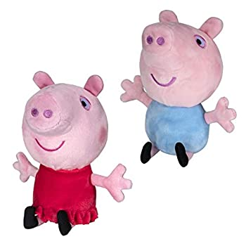 Peppa Pig and George Squeeze & Squish Plush Set 6  – Soft & Cuddly Stuffed Animal Toys