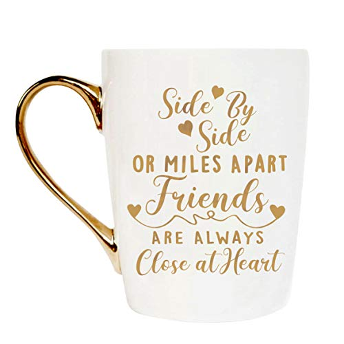 Warehouse No.9 Friendship Gift Gold Ceramic Coffee Tea Cup, Best Friend Long Distance Gift for Her Girl Best Friend Sister Graduation Birthday Christmas Motivational Mug Gift