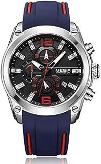 ساعة للرجال من ميجر، مع حركة الكوارتز وعرض كرونوغراف وسوار من السيليكون - طراز 2063G