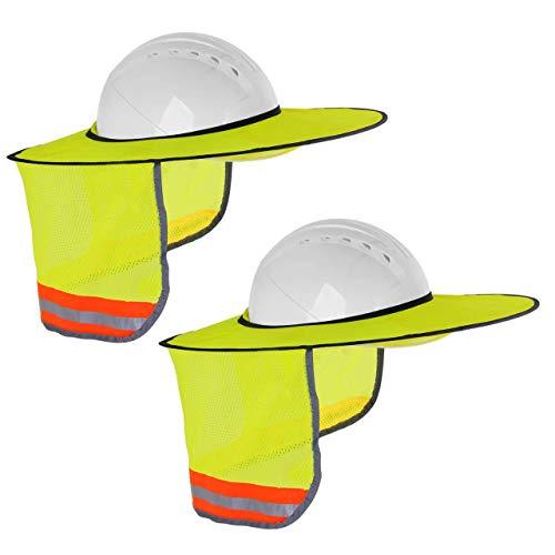 TONGXU 2PCS Sombra de Sol para Casco Duro Reflectante Visera de Sol Cortina Protección contra Rayos UV Gorra Casco de Seguridad para Cabeza con Malla Protección para Cuello Trabajo de Exterior