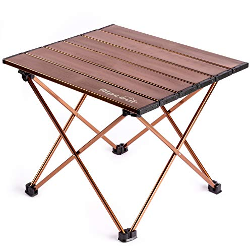 Alpcour Portable Camping Table – Lightweight Compact Folding Side Table in a Bag with Aluminum Top amp Heavy Duty Hinge for Easy Travel amp Storage – Great for Outdoor BBQ Backpacking Tailgate amp More