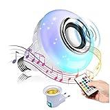 Bombilla de música LED de Colores,Bombilla Bluetooth Altavoz RGB Control Remoto,Usado para Fiesta, Hogar, Decoraciones Navideñas de Halloween Foco de Luz Regulable (Plata)
