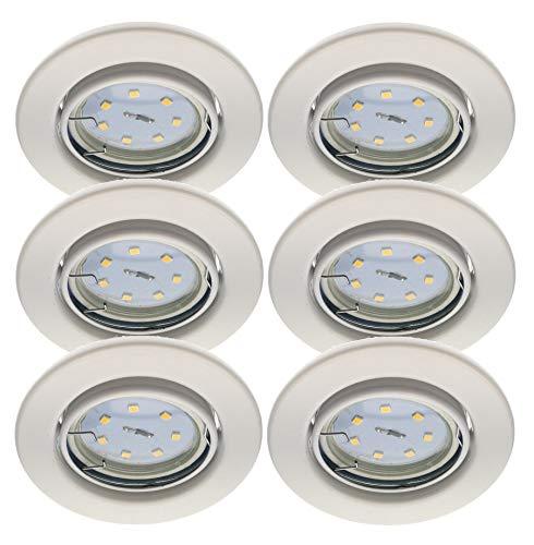 Trango 6er Set LED Einbaustrahler in Weiß Rund TG6729-066M3 Bad Einbauleuchte, Deckenstrahler, Einbauspots, Deckenlampe incl. 6x 3000K warmweiß LED Modul Ultra Flach nur 3cm Einbautiefe