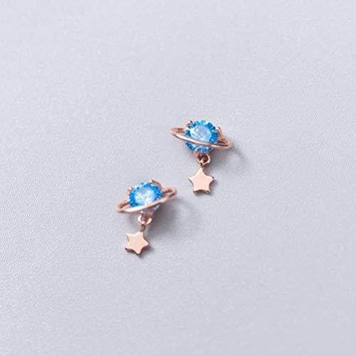 WOZUIMEI S925 Hongo Blanco Uña Femenina Estilo Coreano Personalidad de la Moda Anillo de Diamante Azul Estrella de Estilo Literariooro rosa