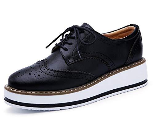 DADAWEN Women's Platform Lace-Up Wingtips Square Toe Oxfords Shoe Black Leather US Size 5/Asia Size 35/22.5cm