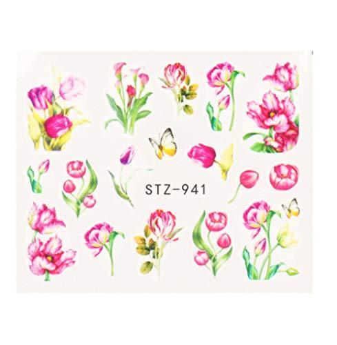 JSIYU Stickers Ongle Série de Fleurs Nail Water Decal Sticker Floral Sakura Daisy Rose Leaf Transfer Slider Foil Nail Decoration B-Y02