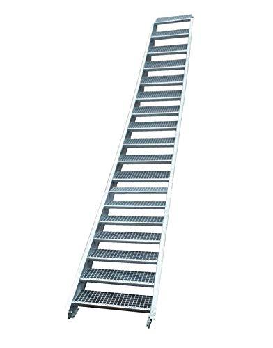 Stahltreppe Industrietreppe Aussentreppe Treppe 18 Stufen-Stufenbreite 110cm /Geschosshöhe variabel 299-360cm verzinkt Gitterrosttreppenstufen Tiefe 24cm
