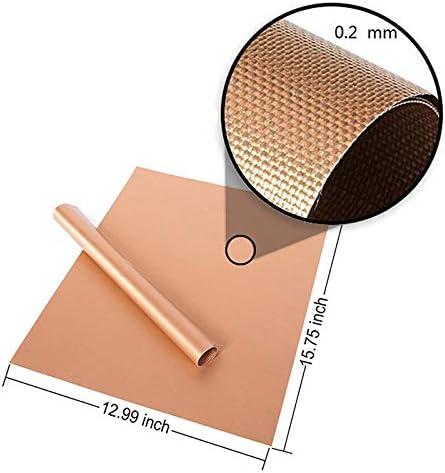YONGCHY 5 Pièces Heat Antiadhésifs BBQ Mat Rapide Hot Copper Résistant Easy Clean Grill Mat Feuille De Cuisson Feuille Portable Barbecue Outil,340mm*240mm*0.2mm 340mm*240mm*0.2mm