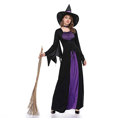 Damen Halloween-Kostüm Hexe, schlankes langes Kleid, Cosplay, Vintage-Stil, mit Fledermausflügen, Lange Ärmel, 3-teiliges Set Gr. Large, Schwarz