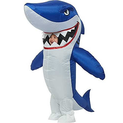 One Casa Inflatable Costume Full Body Shark Air Blow up Funny Party Halloween Costume for Kids (4-6 Yrs)