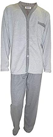 Mini kitten - Pijama de Caballero Hombre con Felpa de Algodon Botones Clasicos de Rayas/Ropa para Dormir de Hombre