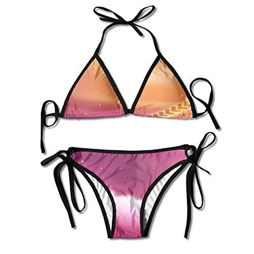 huatongxin Rhythmic Colourful Piano Wallpapers Bikini Damen Sommer Badebekleidung Triangle Top Bikinis Badeanzug Sexy 2-teiliges Set
