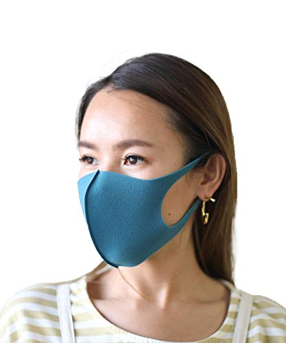 マスク 洗える 男女兼用 ウレタンマスク 4枚入り 洗えるマスク レギュラーサイズ 大人用 softfit mask おしゃれ フィット (NAVY)