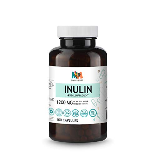 Inulin Capsules - Organic Chicory Root Powdered Supplement - May Promote Digestive Function, Gut Health, Weight Management - Stomach Support Rich in Dietary Fiber, Prebiotics - 100 Caps