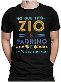 STAMPATEK Maglietta Zio T-Shirt Uomo per Idea Regalo Divertente Maglia con Scritta Zio e Padrino