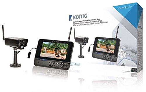 König SAS-TRANS62 digitales drahtloses Beobachtungsset (Fernbeobachtung über Handy Kamera, Videorekorder mit integriertem 17,8 cm (7 Zoll) LCD Monitor)