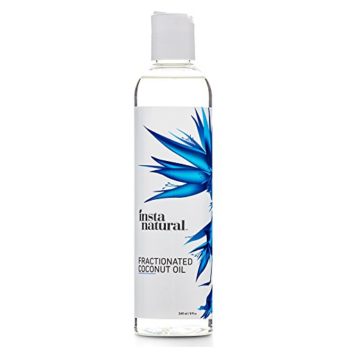 InstaNatural Fractionated Coconut Oil - 100% Pure - Liquid Moisturiser for Skin, Face, Body & Nails - Dry & Damaged Hair Conditioner - Use as Shave Gel, Massage & Bath Oils - Easy Baby Use - 240 ml