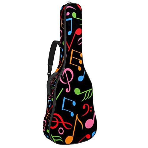 Funda de nailon suave para guitarra acústica, acolchada, gruesa, resistente al agua, para almacenamiento en el hogar, viajes, correas ajustables, rojo, rosa, verde, naranja, azul, nota musical