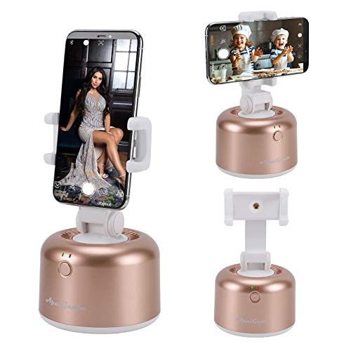 VINMEN Smart Selfie Stick 360 Degrees Rotation Auto Shooting Gimbal Face Object Tracking Phone Camera Mount Holder Robot Cameraman Hands Free Live Streaming Video Recording Volg Shooting(Golden)