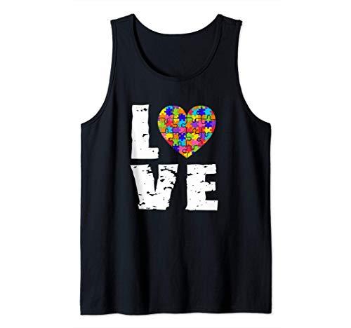 Concienciación sobre el autismo Amor Rompecabezas Corazón Camiseta sin Mangas