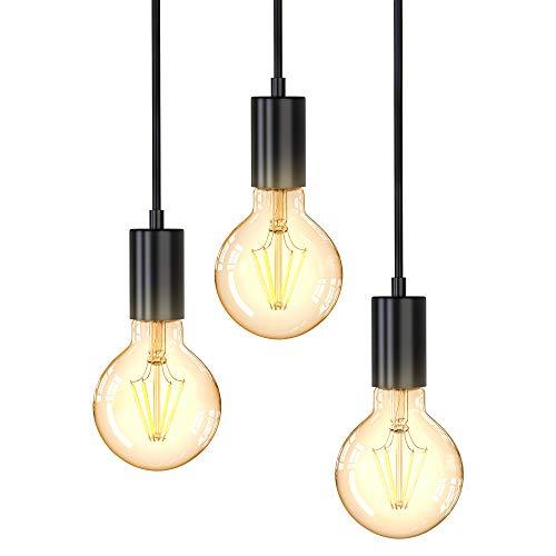B.K.Licht Lampadario vintage, adatto per 3 lampadine E27 non incluse, altezza totale 1.2 m, Lampada...